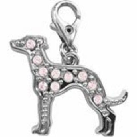GREYHOUND CLEAR CRYSTAL CHARM FOR BAGS PHONES JEWELLERY ETC