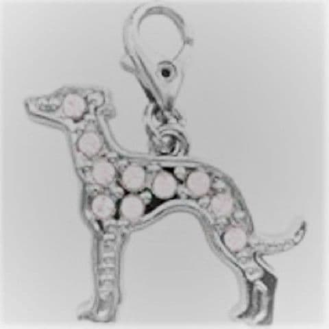 GREYHOUND PINK CRYSTAL CHARM FOR BAGS PHONES JEWELLERY ETC