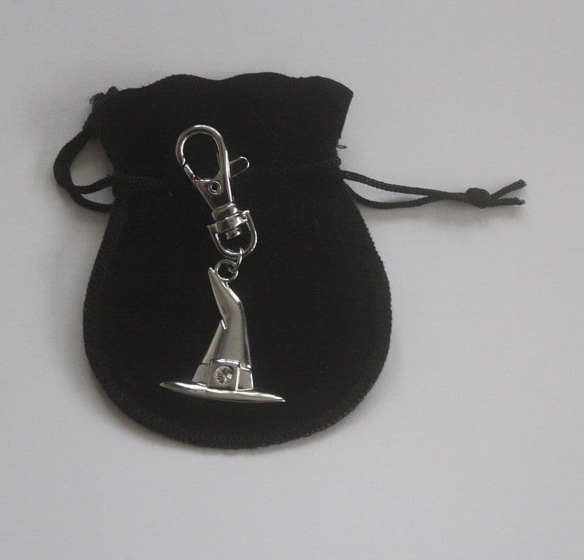 Halloween Witches hat Charm, in a black velvet pouch.with an engraved message.
