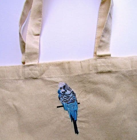 HAND MADE CANVAS TOTE SHOPPING BAG WITH BEAUTIFUL EMBROIDERED BUDGERIGAR