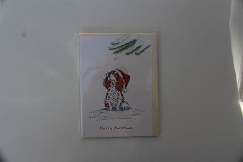 KING CHARLES CAVALIER CHRISTMAS GREETINGS CARD  BLENHEIM CARTOON