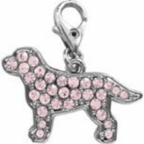 LABRADOR PINK CRYSTAL CHARM FOR BAGS PHONES JEWELLERY ETC