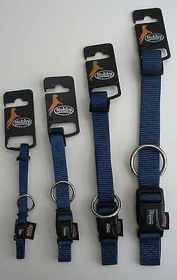 NYLON DOG COLLARS AND LEADS BLUE SMALL - LARGE + FREE ENGRAVED TAG