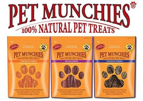 Pet Munchies Natural Dog Treats choice of four Healthy 100% Meat  Low Fat Pure Treats