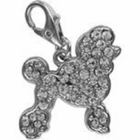 POODLE CLEAR CRYSTAL CHARM FOR BAGS PHONES JEWELLERY ETC