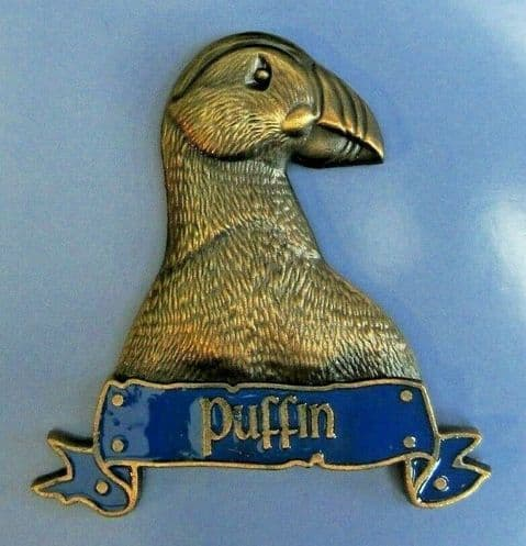 PUFFIN FRIDGE MAGNET HEAVY DUTY METAL 3D MAGNET IN ANTIQUE GOLD STYLE