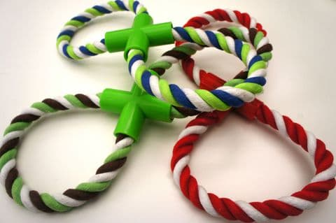 ROPE DOG TOY TOUGH FIGURE OF 8 ROPE TUG TOY VARIOUS COLOURS DOG PUPPY ROPE TOY (1)