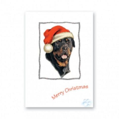ROTTWEILER CHRISTMAS GREETINGS CARD - GLITTER