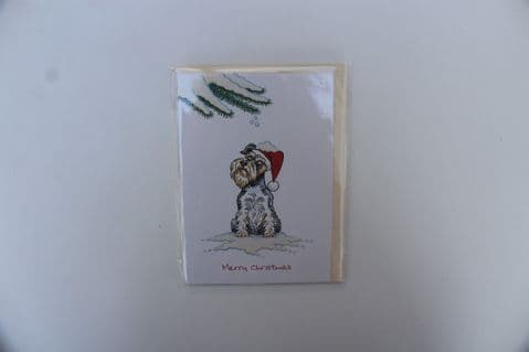 SCHNAUZER CHRISTMAS GREETINGS CARD CARTOON