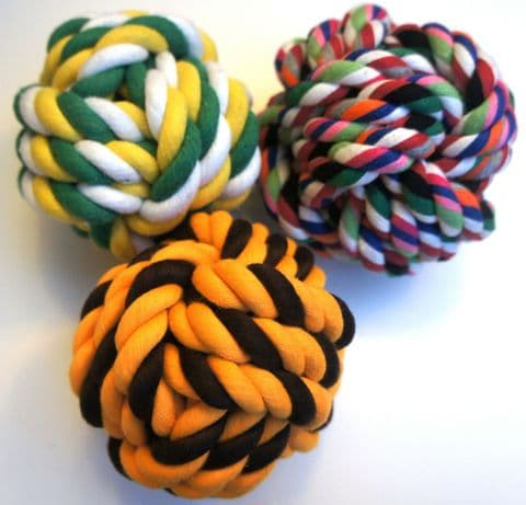 """VALUE PACK LARGE DOG DOG TOYS 4/5"""" DOG ROPE BALLS X 3 TOUGH ROPE TOYS FOR DOGS"""