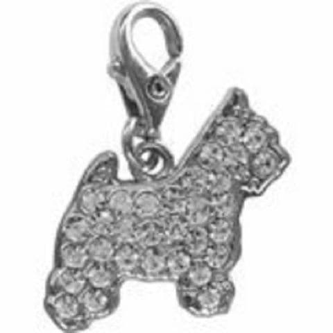 WEST HIGHLAND TERRIER CLEAR CRYSTAL CHARM FOR BAGS PHONES JEWELLERY ETC