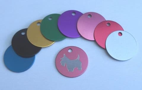 WESTIE WEST HIGHLAND DOG TAG  20MM OR 25MM COLOURED ROUND ANODIZED ID TAG