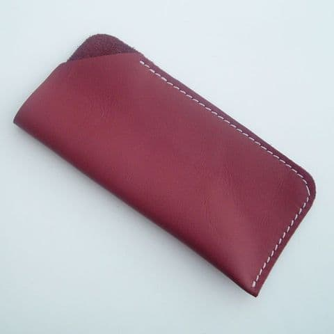 Real Leather glasses case ~~ Dark Red