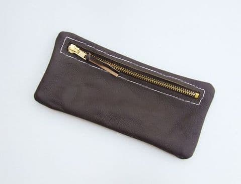 Real leather pencil case - Brown