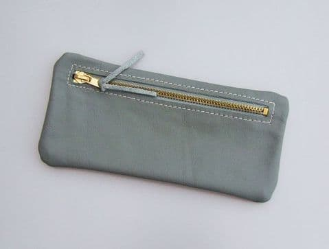 Real leather pencil case - Grey