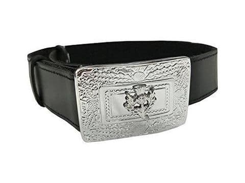 BOYS BLACK LEATHER KILT BELT & THISTLE BUCKLE ADJUSTABLE