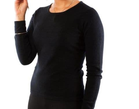 Lona Scott Ladies Black Crew Neck 100% Pure Cashmere Jumper