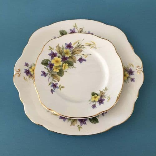 Duchess China | Violets | Cake Plate and Side Plates x 4