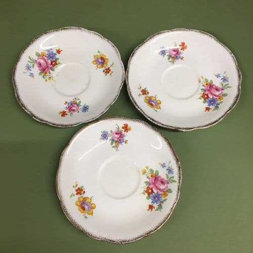 Foley  China | Art Deco | Floral Saucers x 3 | 1930s