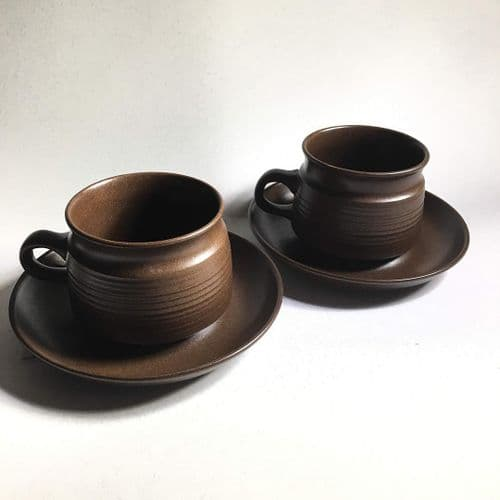 Villeroy and Boch | Brown Cup and Saucer Duo x 2 | 1970s