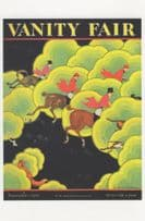 1920s Horse Race Racing in The Clouds Art Deco Painting Postcard