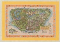 1950s Map Of Disneyland Vintage Theme Park Walt Disney Postcard