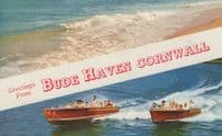 1960s Speedboats at Bude Haven Cornwall Postcard