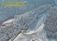 1980 Winter Olympics Olympic Games Bobsleigh Skiing Berg Race Postcard