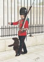 1st 2nd Batallion Welsh Guard in 1933 Military Uniform Painting Postcard