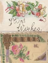 2x Antique Silk Effect Old Postcard s