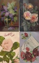 4x Real Glitter Floral Greeting Postcard s