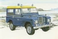 88 Inch Hard Top Military LandRover Vehicle Painting Postcard