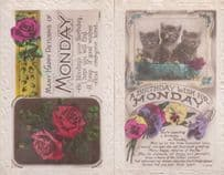 A Birthday Wish For Monday Kitten Cats 2x Antique Greetings Postcard s