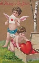 A Happy New Year Cupid Antique Angels Box Briefcase Love Heart Hearts Postcard