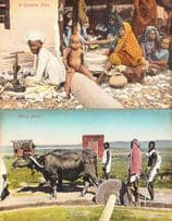 A Kathiawar Home Indian House + Mortar Elephant Mixing 2x Old India Postcard s