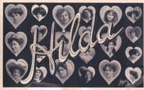 A Name Called Hilda Antique Multiple Image RPC Actress Postcard