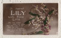 A Name Called Lily With Flowers Love Greetings Old Shiny Postcard