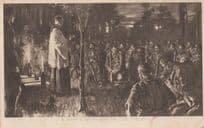 A Night Service On The Field WW1 Army Church Service Postcard