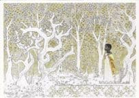 African American Child Boy Ice Snow Forest Award Painting Postcard