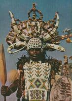 African Transkei Long Pipe Red Blanket Tribal Fashion South Africa Postcard