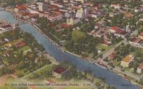 Air Aerial View Of Fort Lauderdale + Law Day Freedom Postmark Mint Postcard