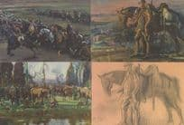 Alfred Munnings 4x WW2 Horse Canada Military Painting Postcard s