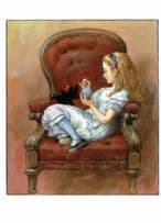 Alice Cat Kitten Through The Looking Glass 1911 Book Postcard