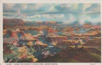 Along The River At Grand Canyon Aerial Painting American Postcard