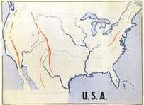 America School Map Chart College Old Educational Drawing Postcard