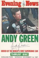 Andy Green Evening News Norwich Speed Record Holder Hand Signed Photo
