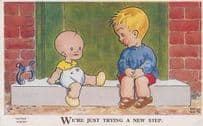 Antique Brian White Arist Signed Baby In Nappy New Step Dance Comic Postcard
