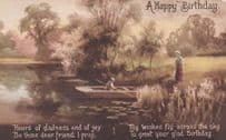 Antique Old Rowing Boat Picture Birthday Postcard
