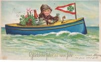 Austrian Child In Boat Happy New Year Clover Sailing 1937 Postcard