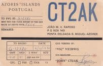 Azores Islands Portugal 1970s QSL Amateur Radio Card